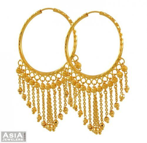 22k Gold Hanging Hoops Ajer52865 Yellow Indian Style