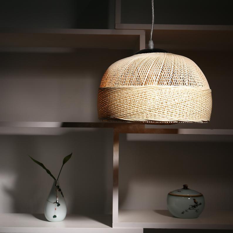 Japanese Woven Rattan Pendant Light Natural Wicker Lamp Shade Etsy In 2020 Rattan Pendant Light Wicker Lamp Shade Pendant Light