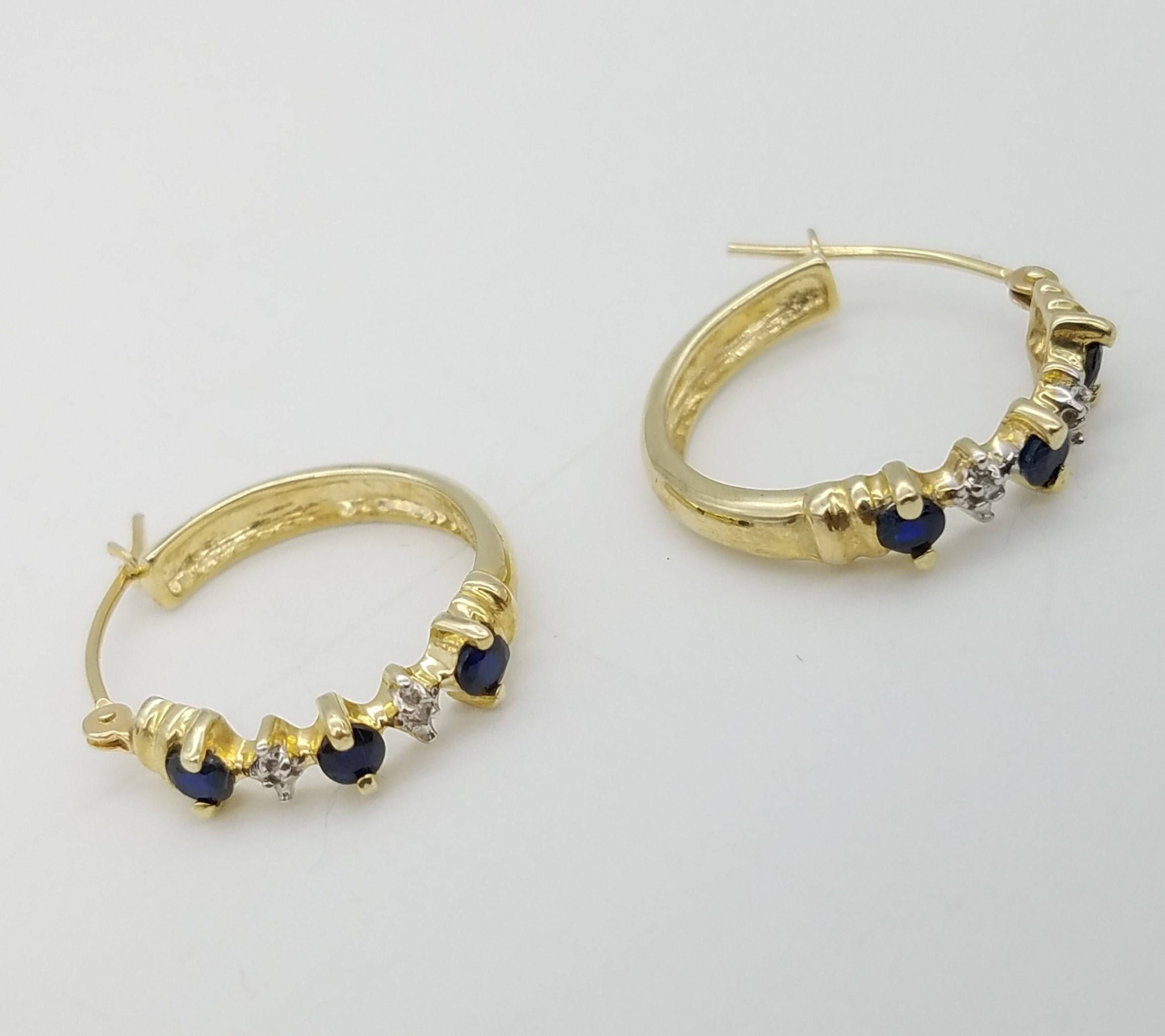 Vintage Shire Diamond Solid 14k Gold Hinged Hoop Estate Earrings By Thingsgrandmakept1 On Etsy