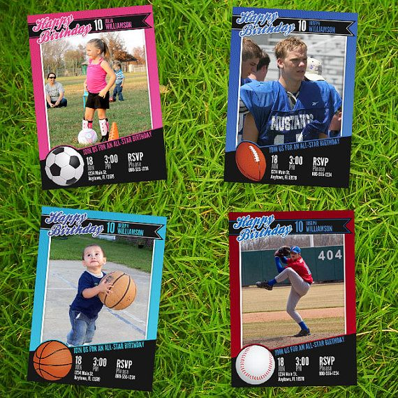 Team Bundle Basketball, Baseball, Football, and Soccer Card - birthday invitation card template photoshop