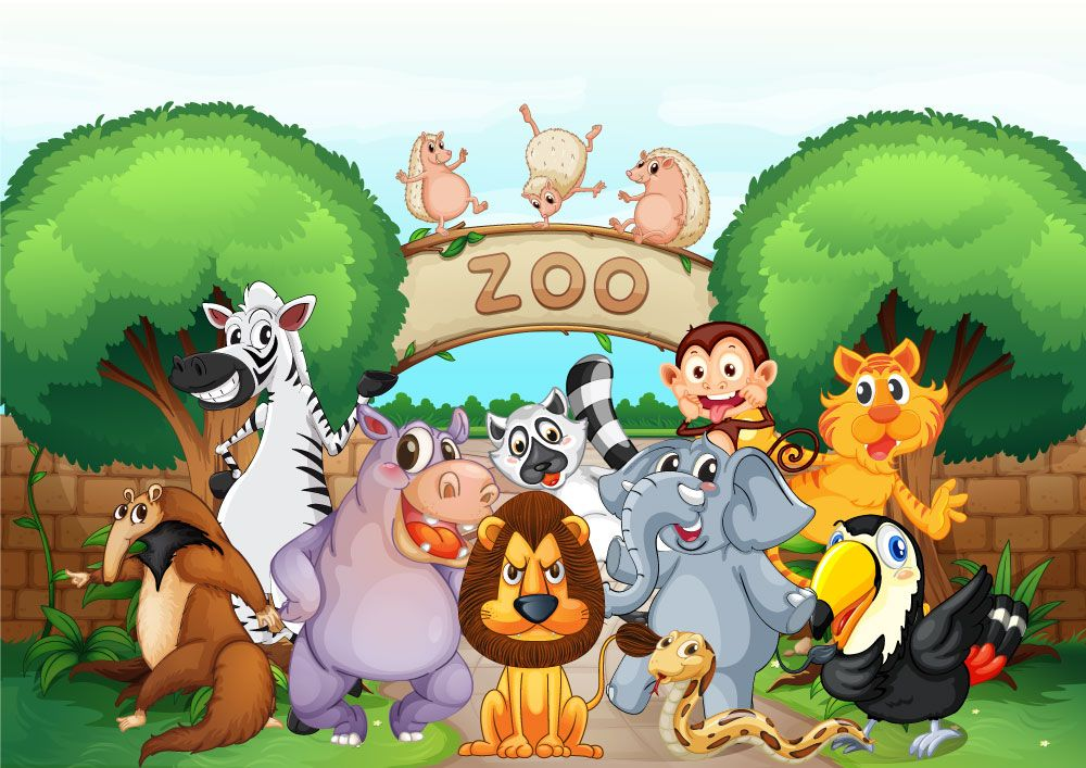 Cartoon Animals At The Zoo Children's Wall Mural ohpopsi