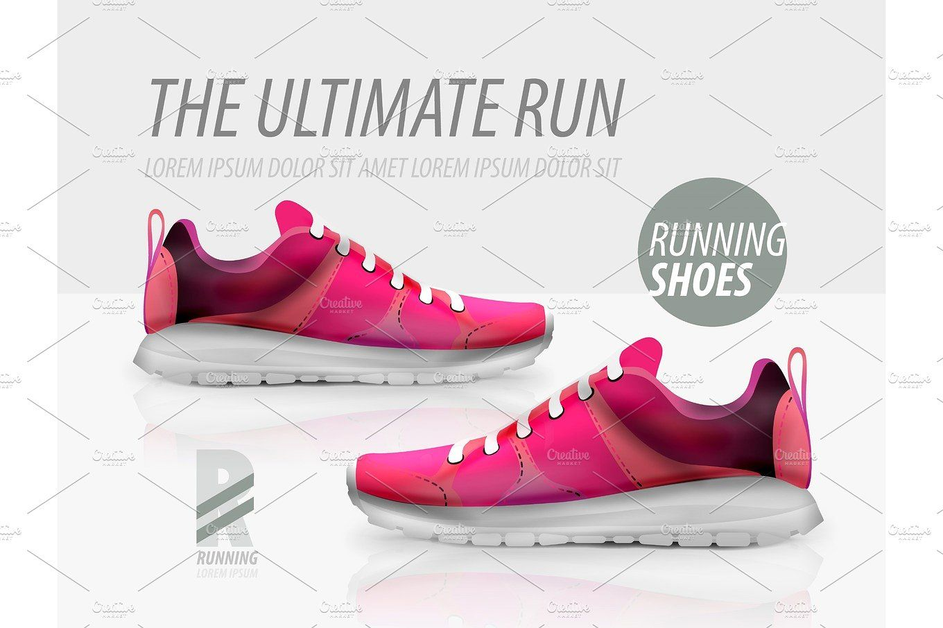 Download Vector Running Shoes Ad Product Template Shoes Ads Running Shoes Shoes Vector