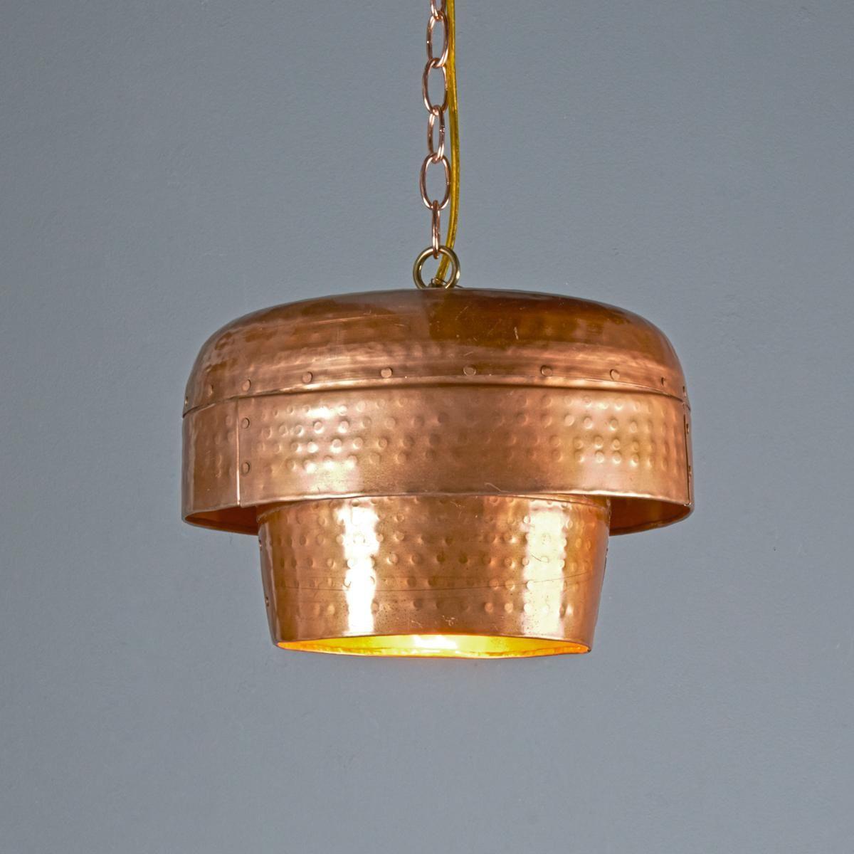 Tiered Copper Bowl Pendant Light