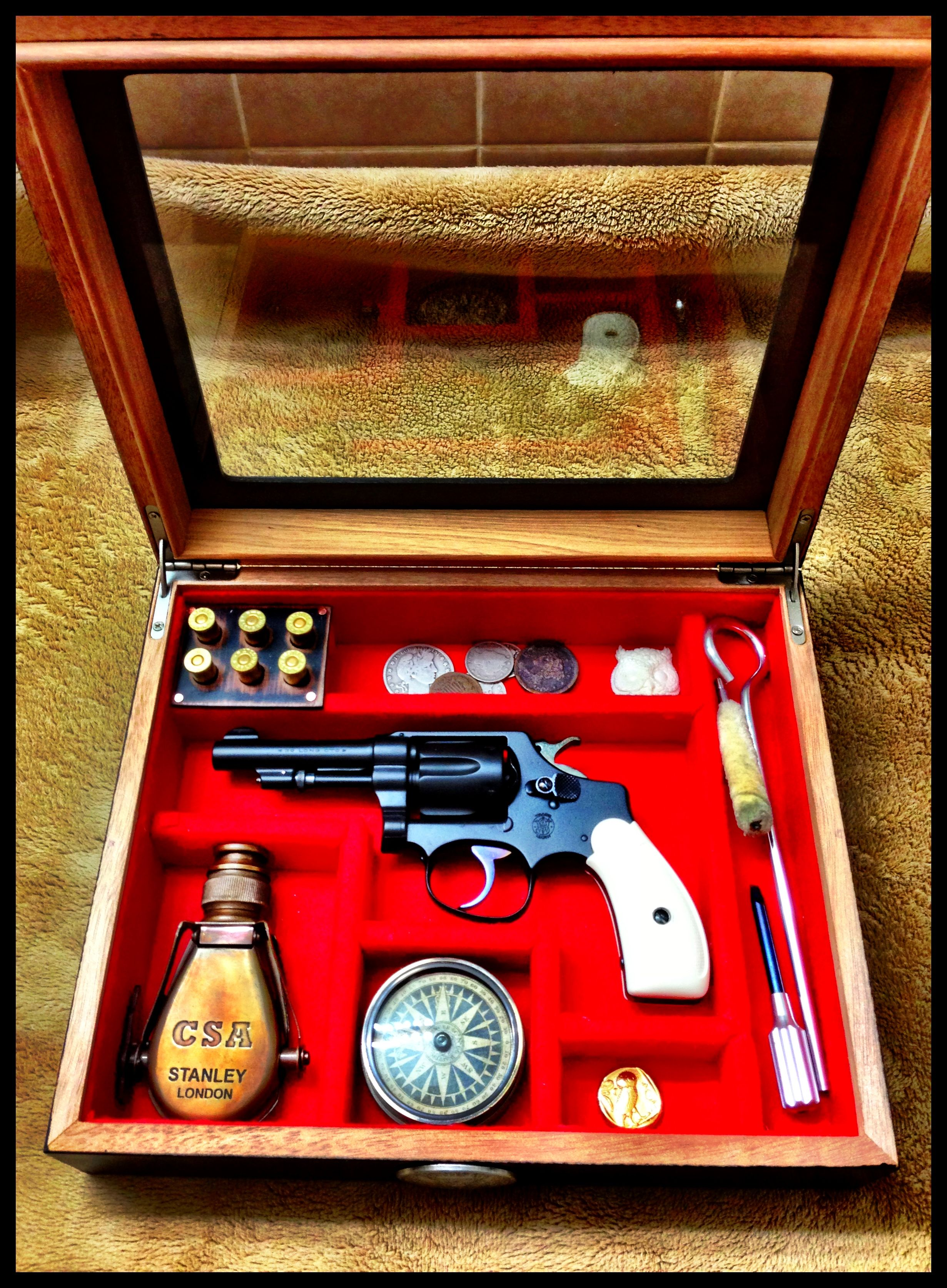 Double pistol handgun revolver gun display case cabinet rack shadowbox - Display Case For My Smith Wesson Long Hand Ejector By John Black Find This Pin And More On Guns