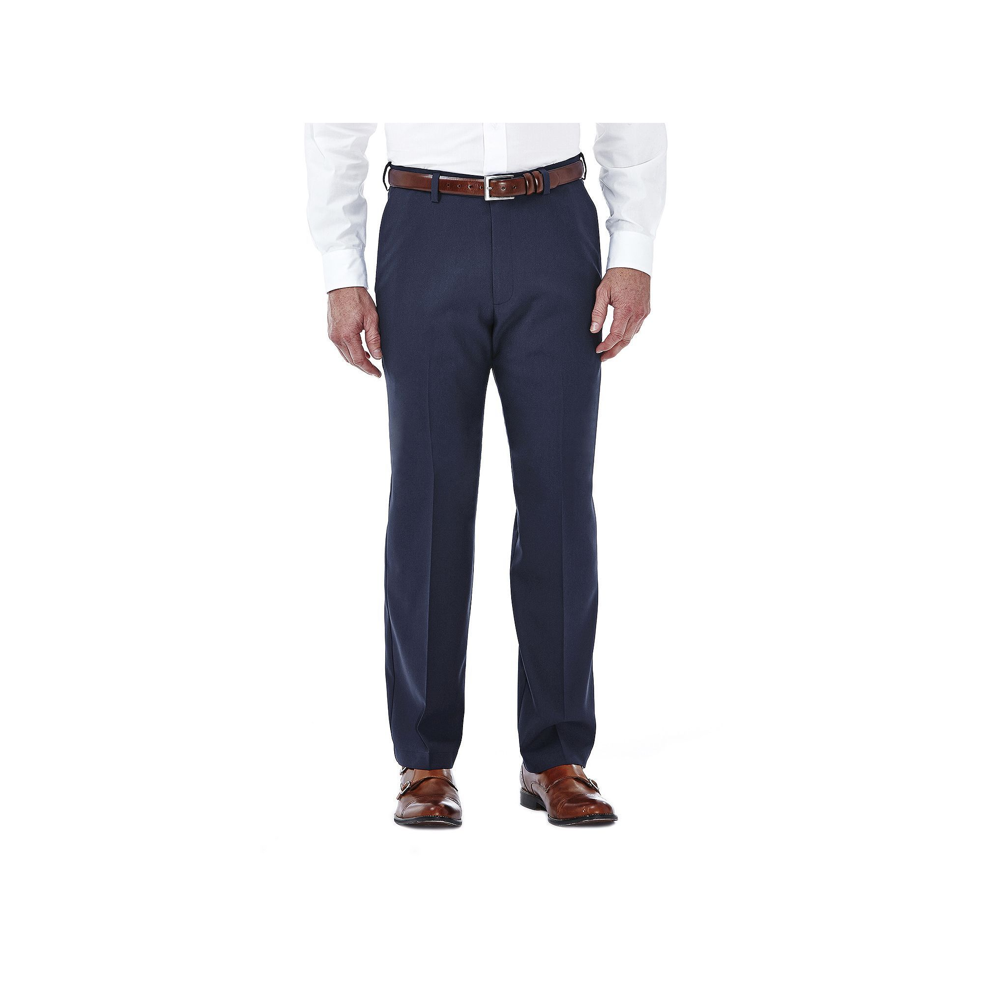 Men's Haggar Cool 18 Stretch Flat-Front Pants, Size: 36X30, Blue (Navy)