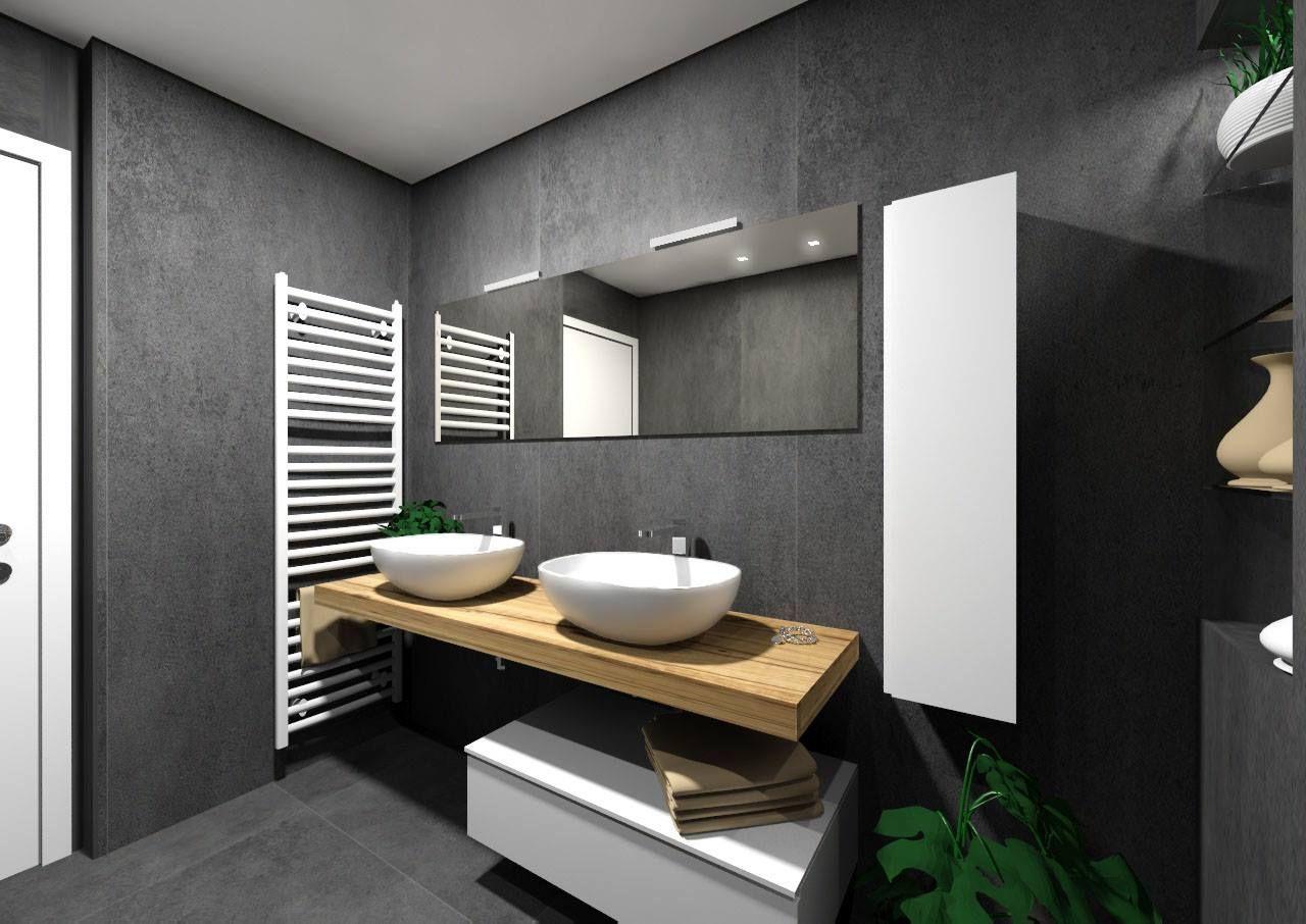 Il bagno group firma questo progetto con la nostra collezione effetto cemento kerlite over nel - Piastrelle grigie bagno ...