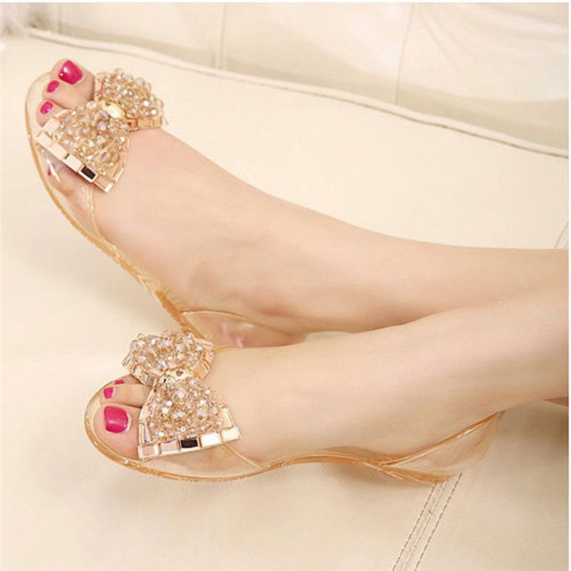 2016 Summer Sandals Women Bling Bowtie Fashion Peep Toe Jelly Shoes Sandal  Transparent PVC Flat Shoes