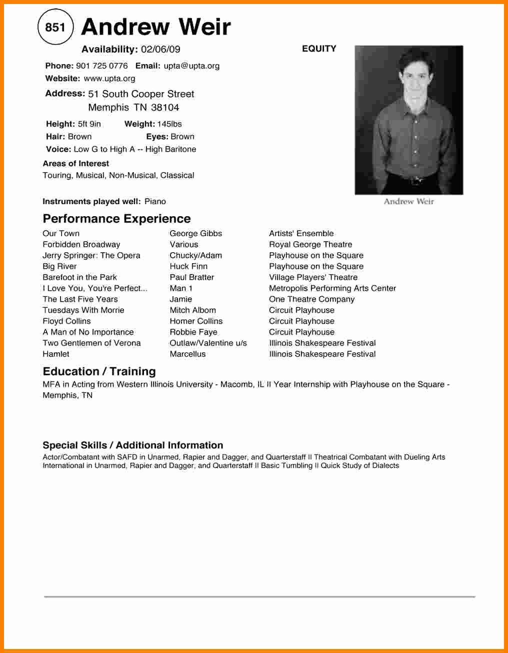 Acting Resume Template for Beginners Luxury 6 Beginner