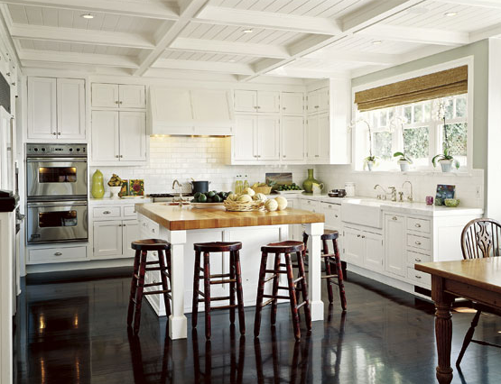 White Kitchen Wood Floor kitchens - butcher block, kitchen siland, countertop, white