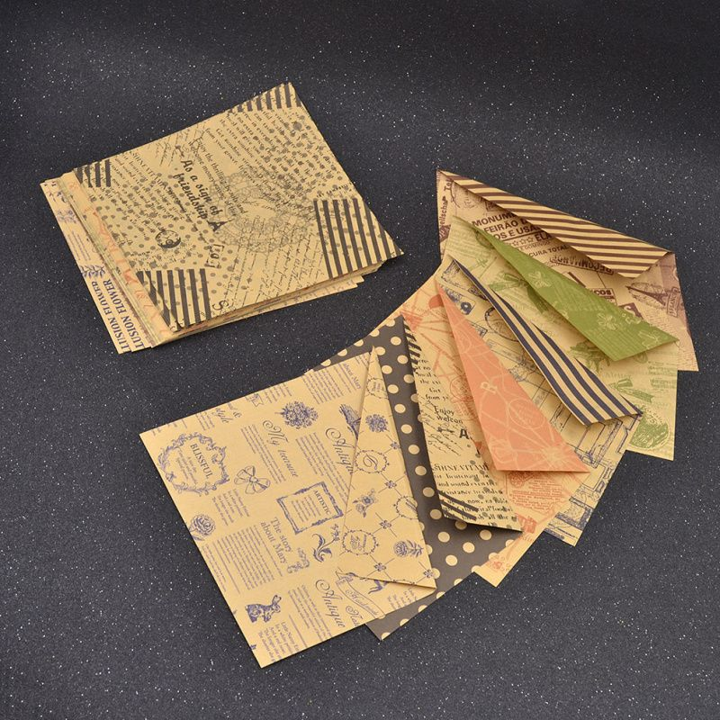 She Love Vintage 6 Designs 60 Sheets Double Sided Origami Paper Diy Folded Kraft Paper Craft Scrapboo Paper Origami Diy Vintage Paper Crafts Kraft Paper Crafts