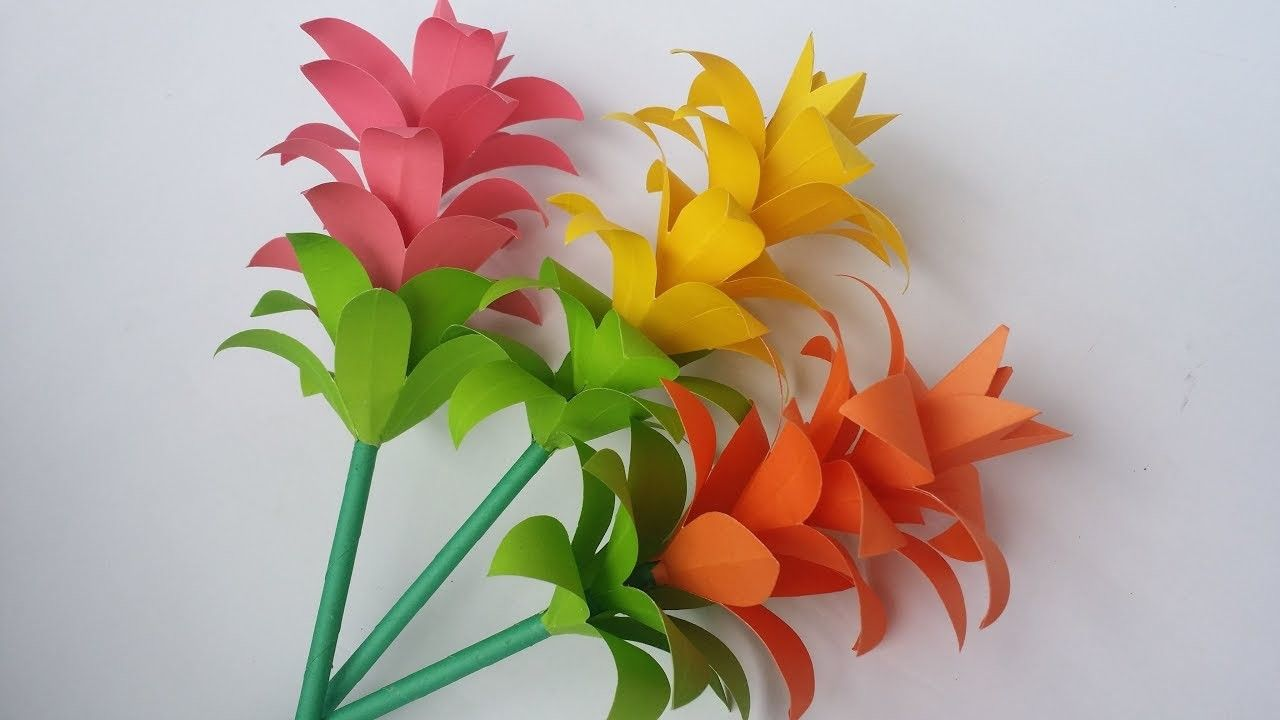 Diy Paper Flower How To Make Beautiful Paper Flower Stick With