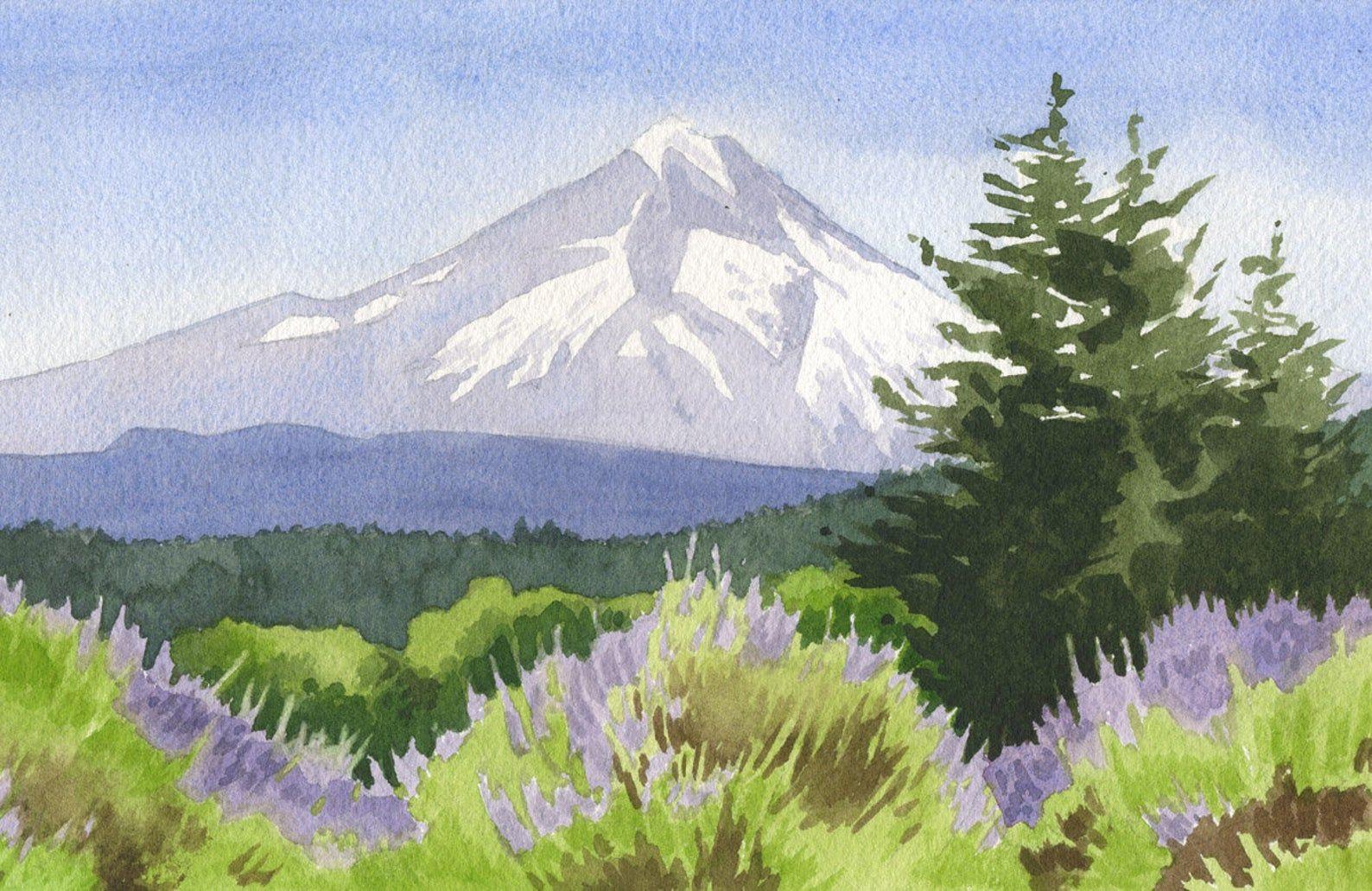 Mt Hood Oregon Lavender Art Print Oregon Wall Art Portland In 2020 Hawaii Art Print Hawaii Art Oregon Landscape