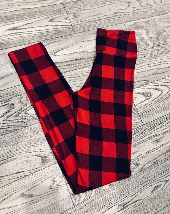 a9ecc6dca70 Red Tartan Bamboo Yoga leggings
