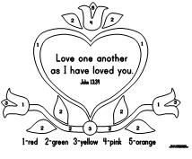 Kindergarten Bible Verse Count By Numbers Love One Another As I Have Loved You John 1334