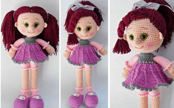 Кукла в сиреневом платье   Куклы, Вязаные игрушки, Вязание ...