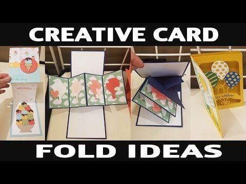 Stamping Jill Creative Card Fold Ideas Youtube Creative Cards Folded Cards Fun Fold Cards