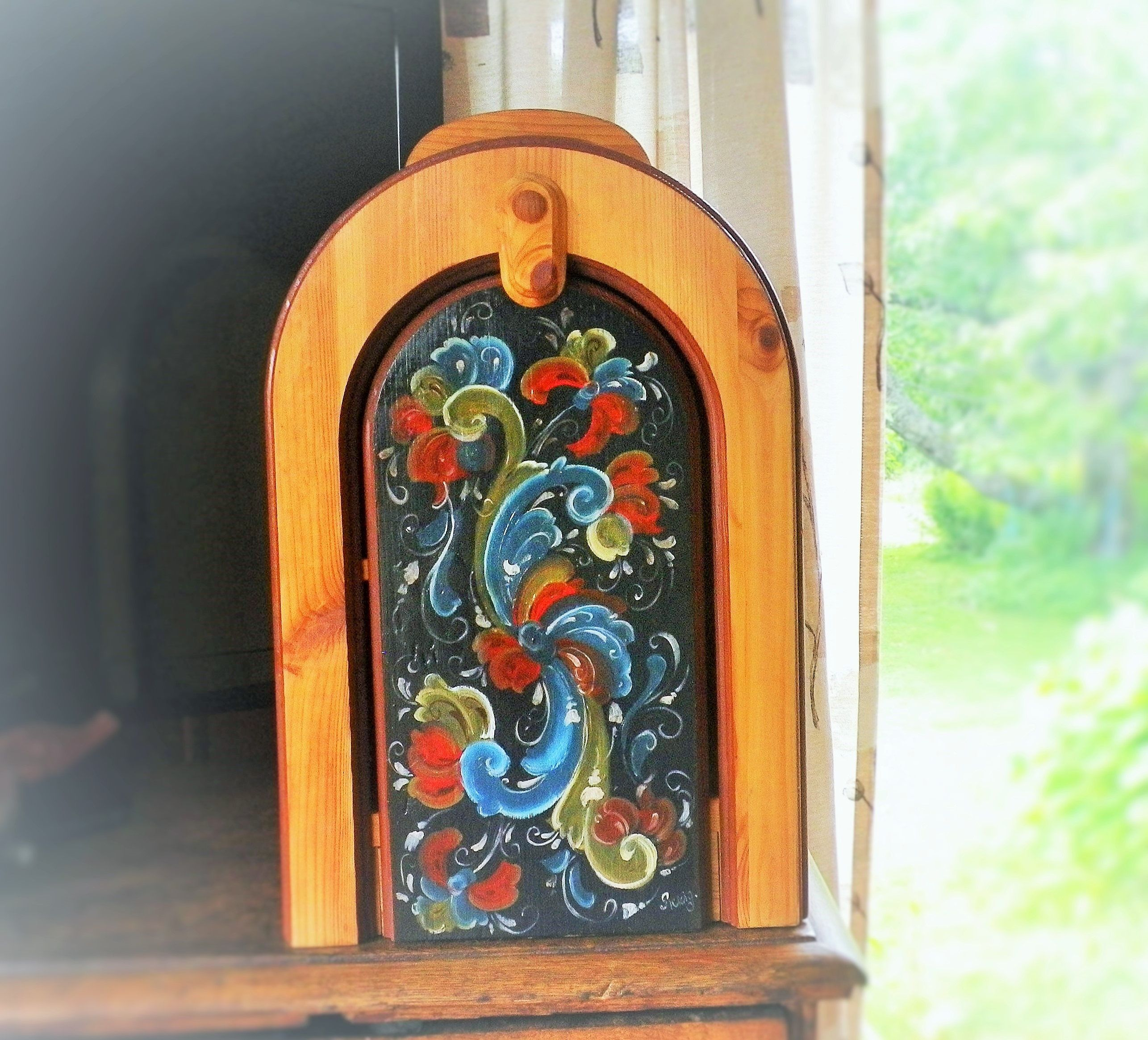 Handmade Wood Wine Bar Box Norwegian Rosemaling