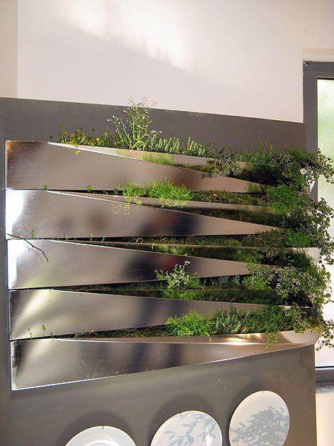 Miroir En Herbe Sectional Stainless Steel Indoor Herb Garden Kitchen Salad  Wall