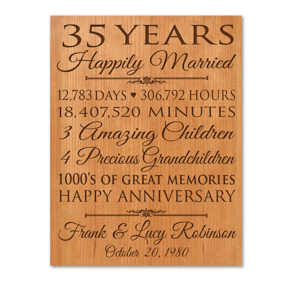 Gifts For Wedding Anniversaries: Personalized 35th Anniversary Gift For Him,35 Year Wedding