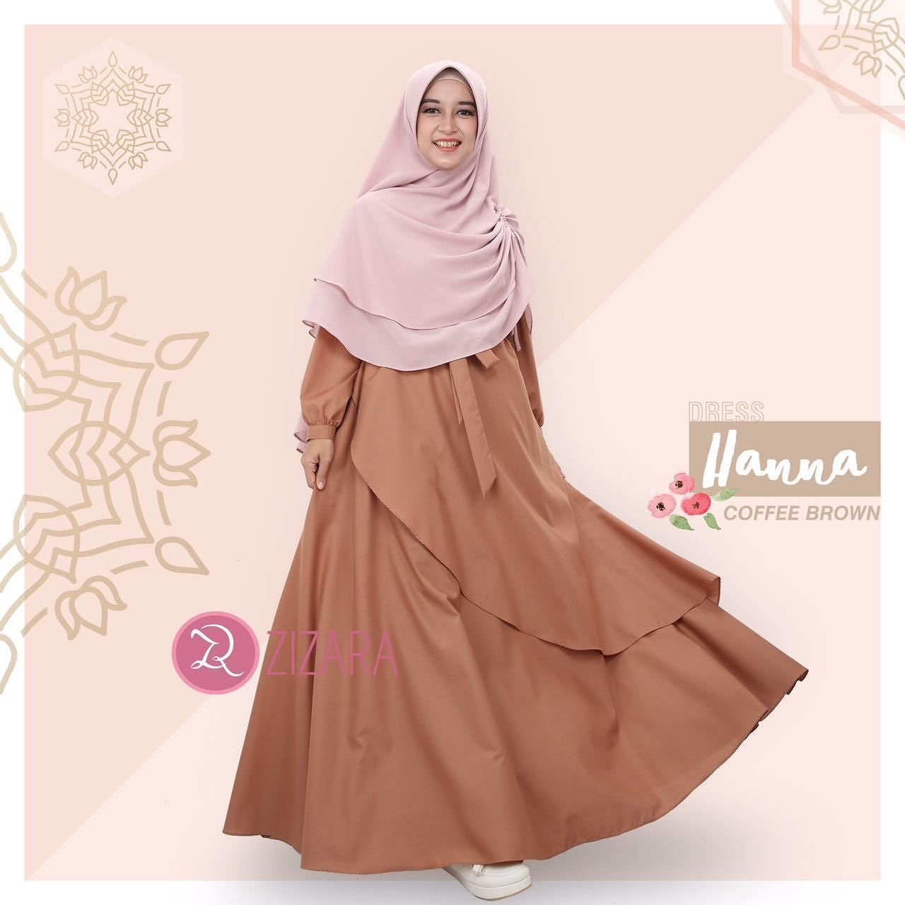 Gamis Zizara Hanna Dress Coffee Brown - baju muslimah busana