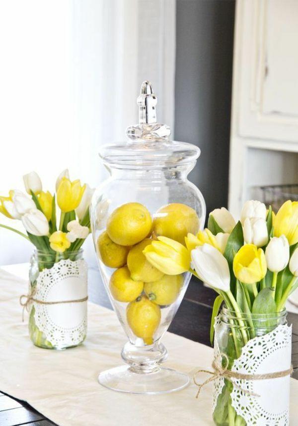 deko ideen mit tulpen zitronen tischdeko rustikal Frühling