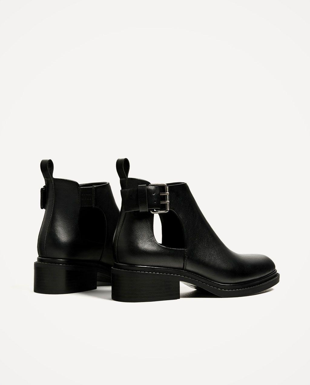 Elegante Mujer Zapatos Zara Botín negro plano con poco tacón