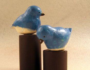 Paper Mache Bluebirds that look ceramic DIY.
