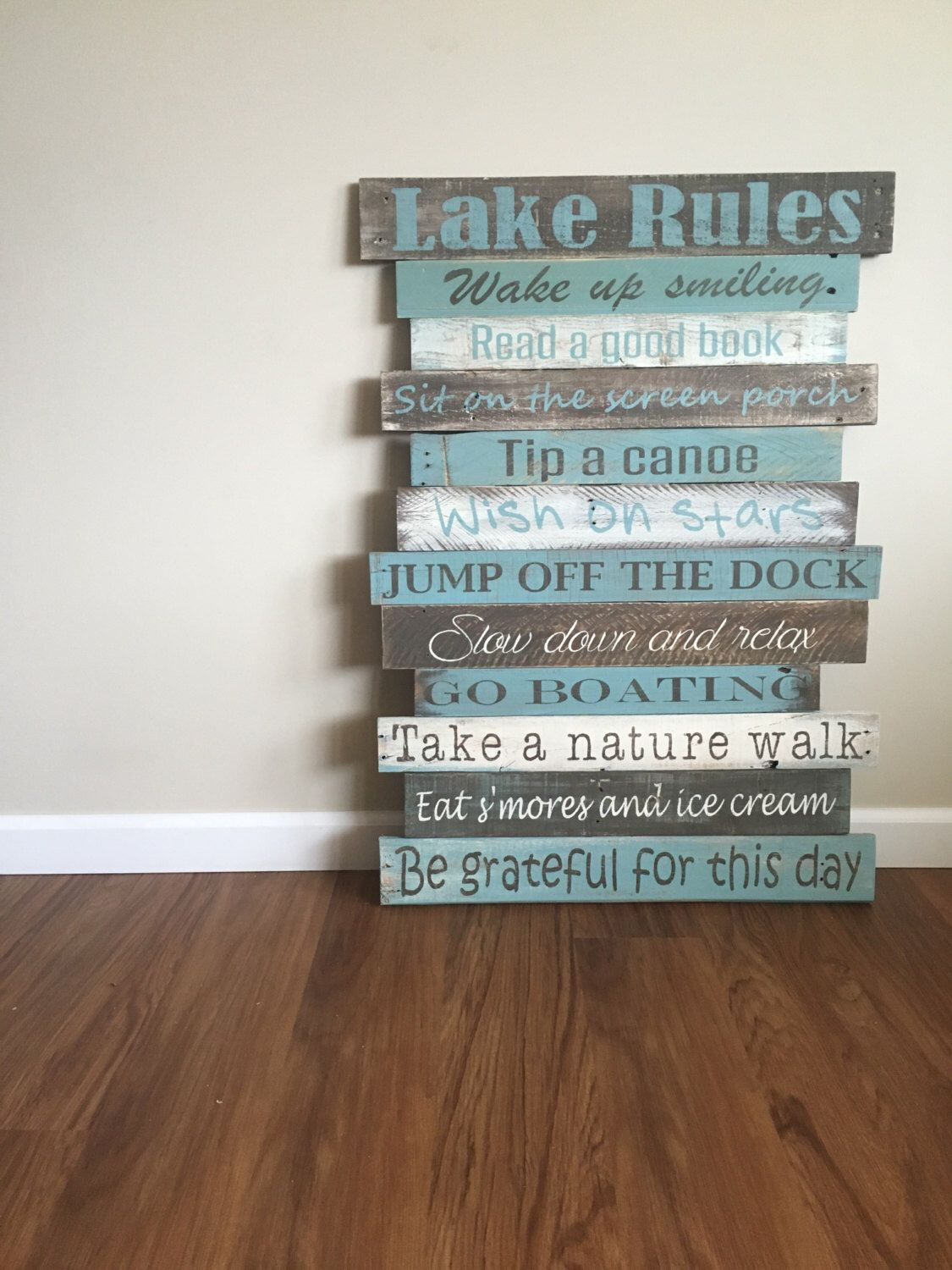 Lake Rules Sign Reclaimed Wood Rustic Beach Wall Decor House By Soulspeakandsawdust On