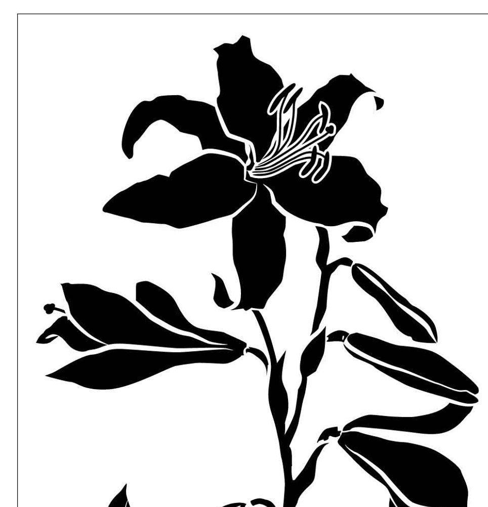 Lily 11x16 Inch Reusable Laser Cut Stencil By Pearldesignstudio On
