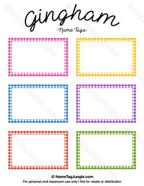 Free printable gingham name tags the template can also be used free printable gingham name tags the template can also be used for creating items like bin labelsclassroom pronofoot35fo Images