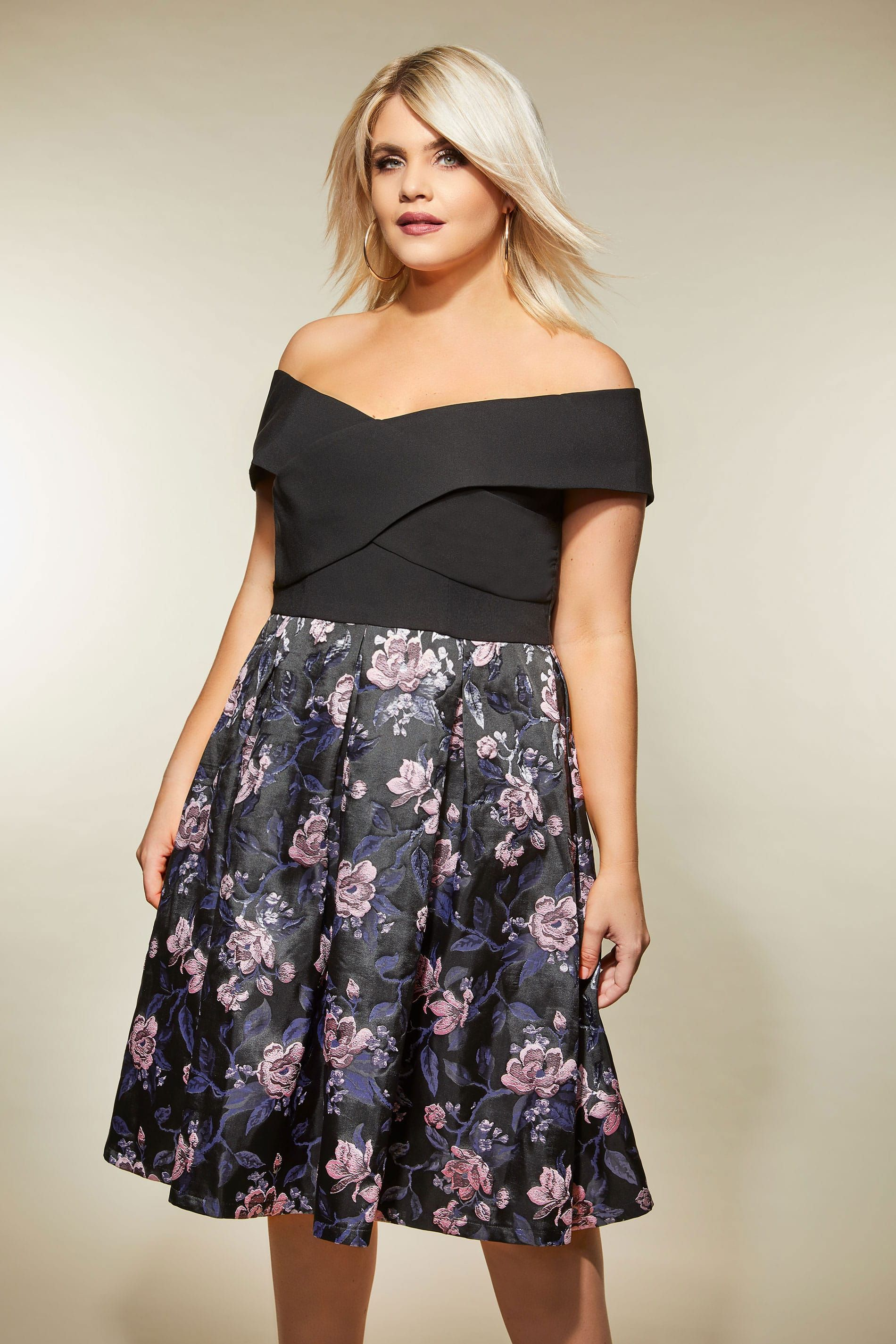 19d15b1533 CHI CHI Black Floral Bardot Dress, Plus size 16 to 26 | Fabulous ...