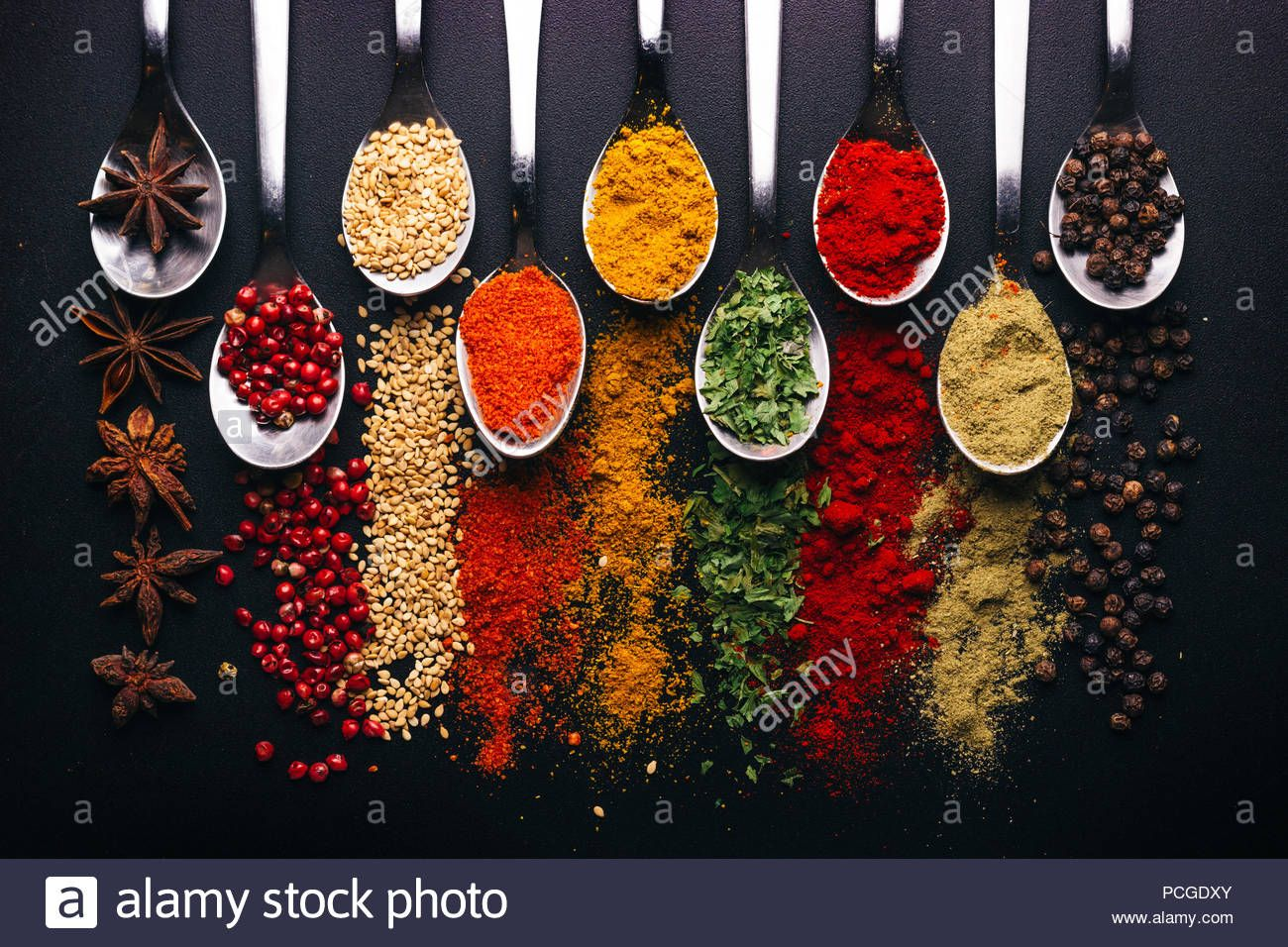 Download This Stock Image Spices And Condiments For Cooking On A