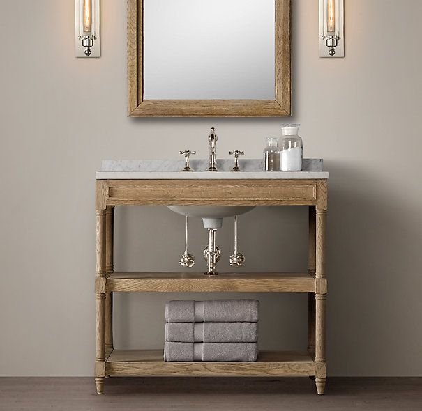 Weathered Oak Single Washstand Renovate Powder Room