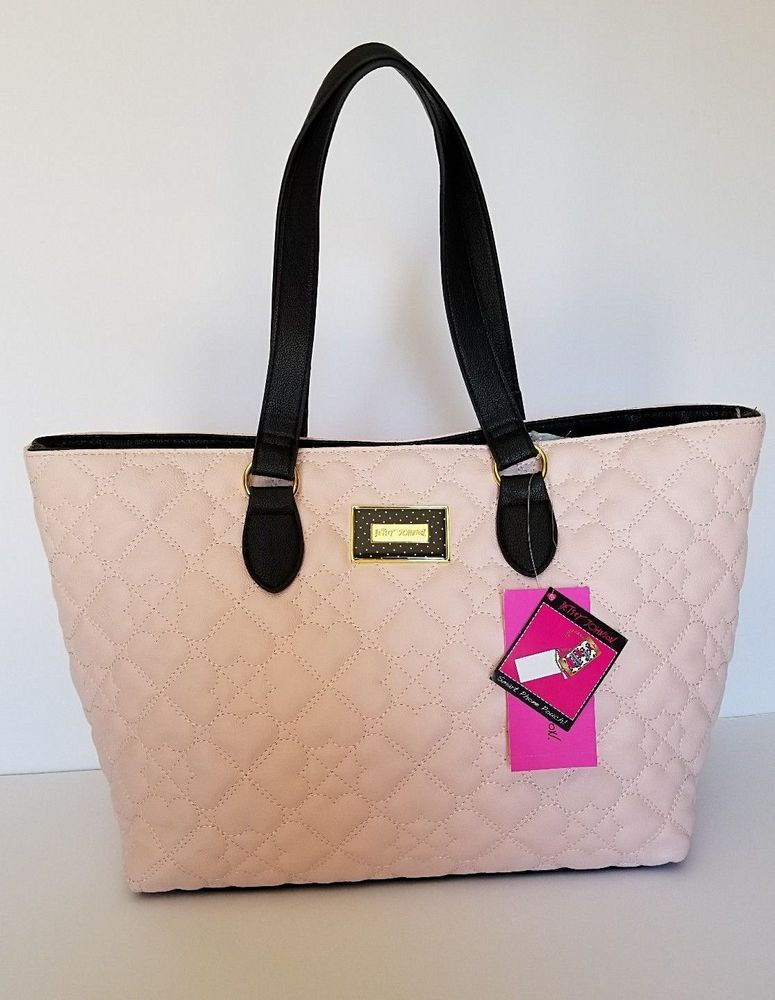 92eb9d5039 Betsey Johnson Tote Bag Blush Pink Black Quilted Hearts Purse New   BetseyJohnson  Tote