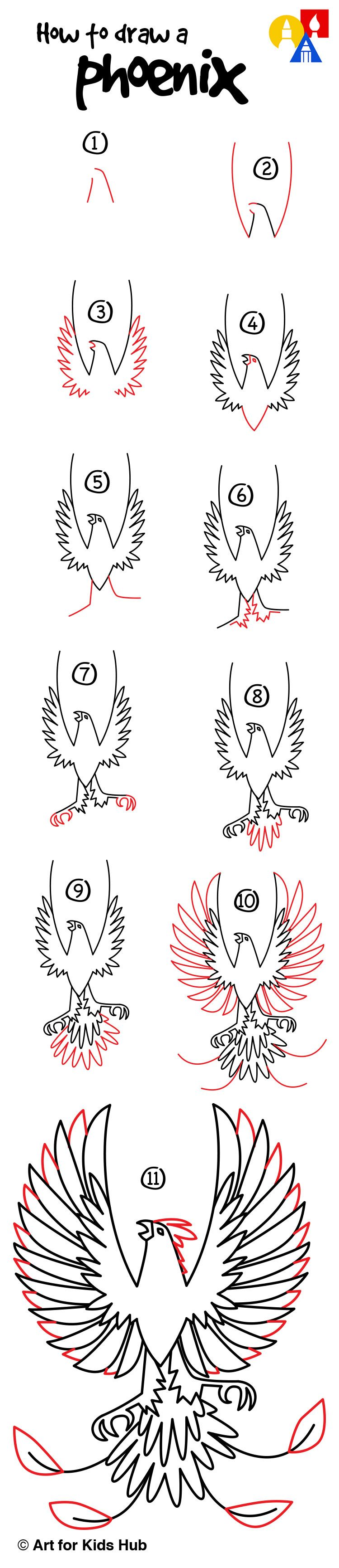 how to draw a phoenix art for kids hub afkh step by. Black Bedroom Furniture Sets. Home Design Ideas