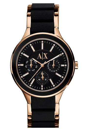 47d3740f3f11 AX Armani Exchange Silicone Bracelet Watch Oro Negro