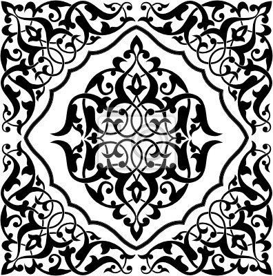 papier peint carrelage arabesque noir et blanc pixers nous vivons pour changer arri re. Black Bedroom Furniture Sets. Home Design Ideas
