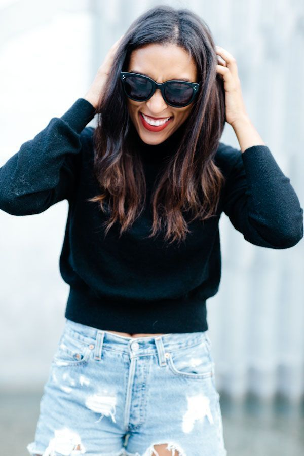 cropped turtleneck and high waisted levis | Tip & Tink
