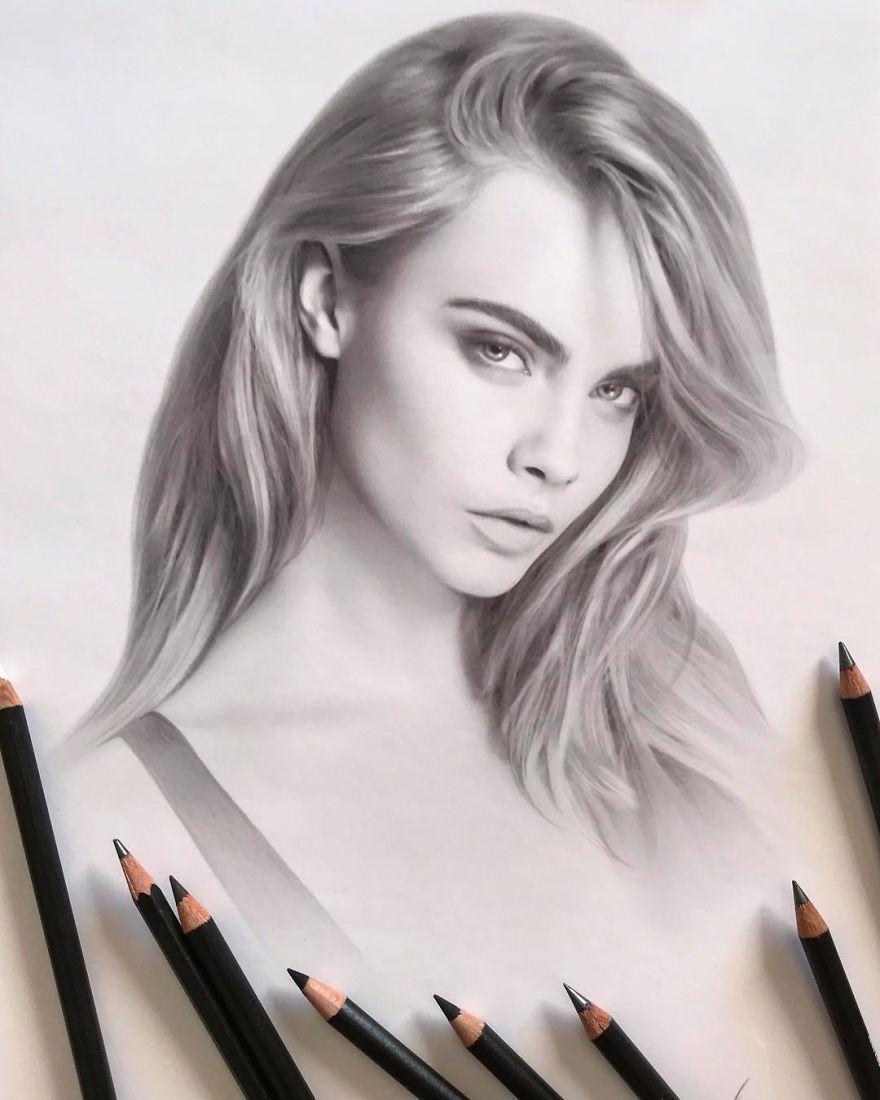 Artista Crea Dibujos Hiperrealistas De Celebridades Dibujos Realistas Dibujos Retratos Dibujos