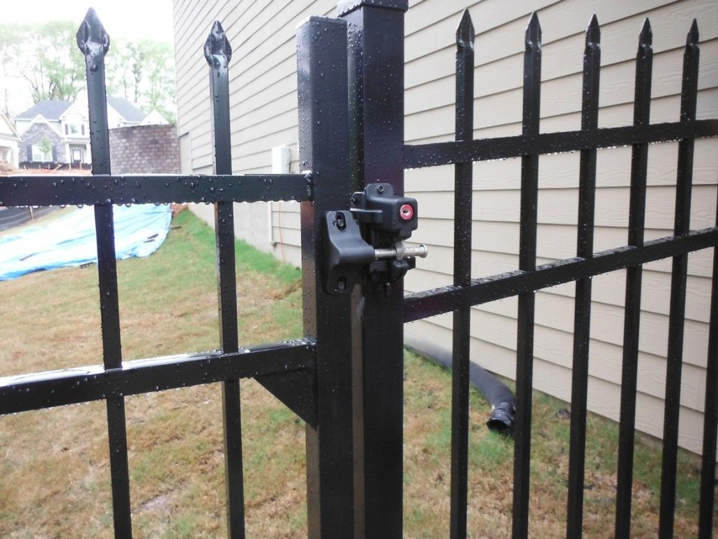 How Is A Wrought Iron Gate Made With A Lock Google Search Metal Fence Gates Aluminum Fence Gate Gate Locks