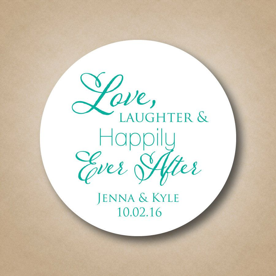 Love Laughter Happily Ever After Wedding Favor Stickers Personalized Bridal Shower Labels Custom Cake Box