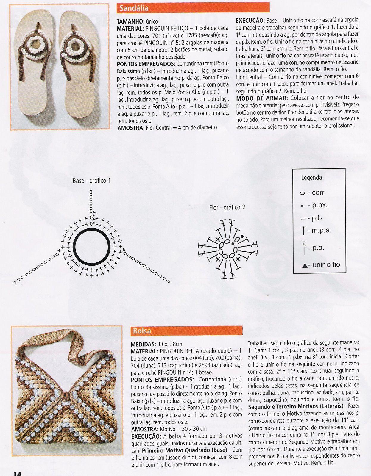 Patrones para Crochet: Conjunto Bolsa Triangulos Crochet y Hawaianas ...