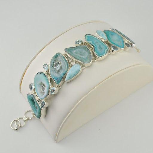 [5066] sterling silver agate larimar blue topaz toggle bracelet