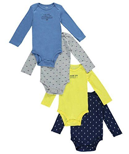 Carter's Baby Boys Multi-Pack Bodysuits 126g338, Assorted, 6 Months Baby Boy Clothes