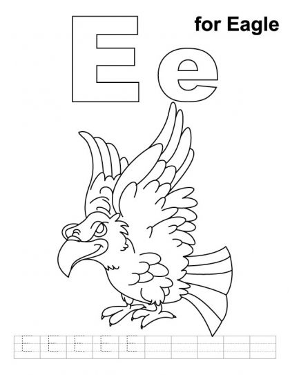 E For Eagle Coloring Page With Handwriting Practice Kids