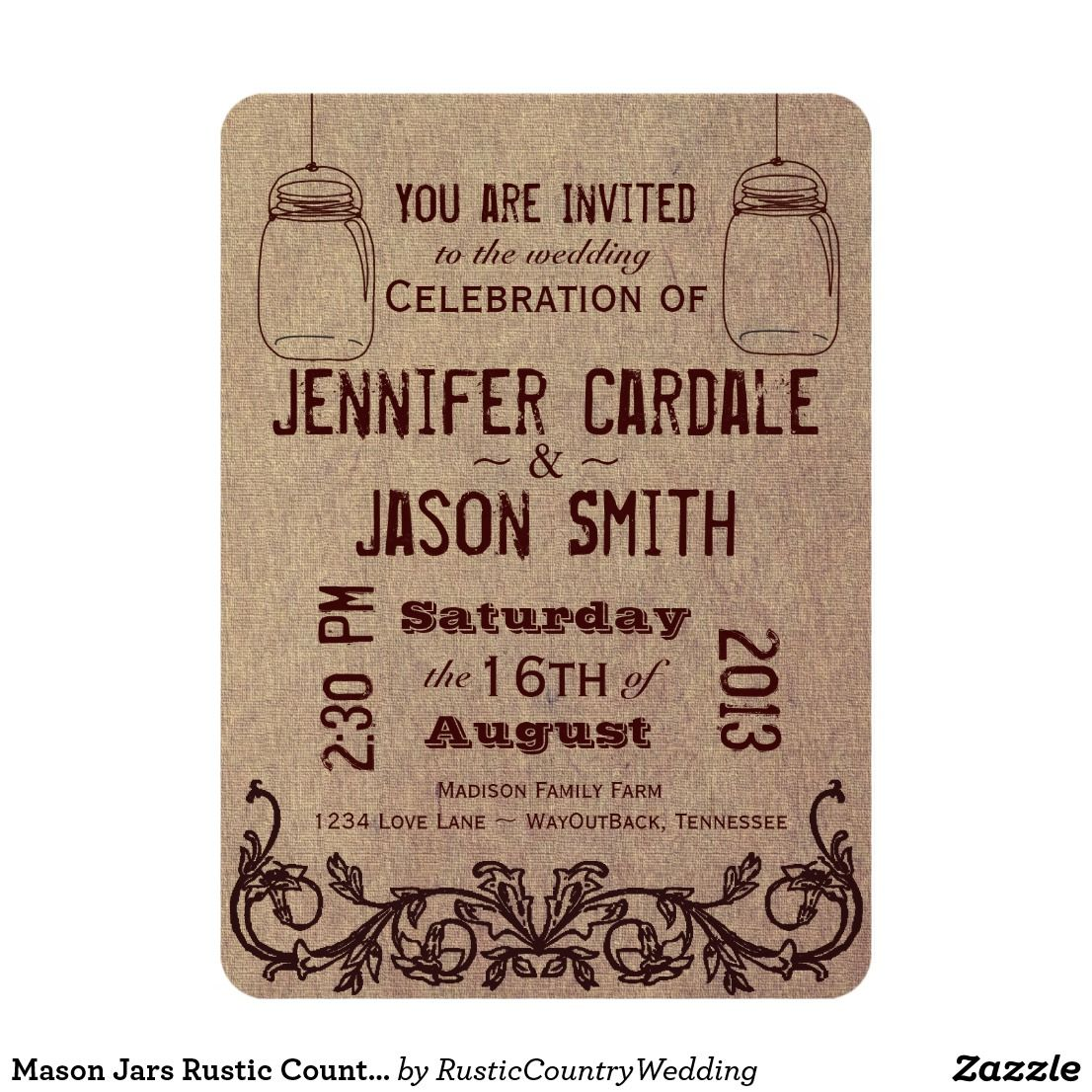Mason Jars Rustic Country Wedding Invitations | Country style ...