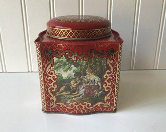 Vintage cookie tin round biscuit box german folk art faux bois