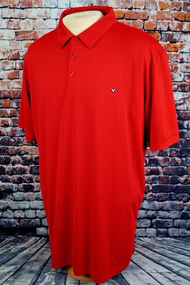 Callaway Men's Opti-Dri Performance Polo Golf Sport Shirt Red Black Stripe XXL #Callaway #PoloRugby