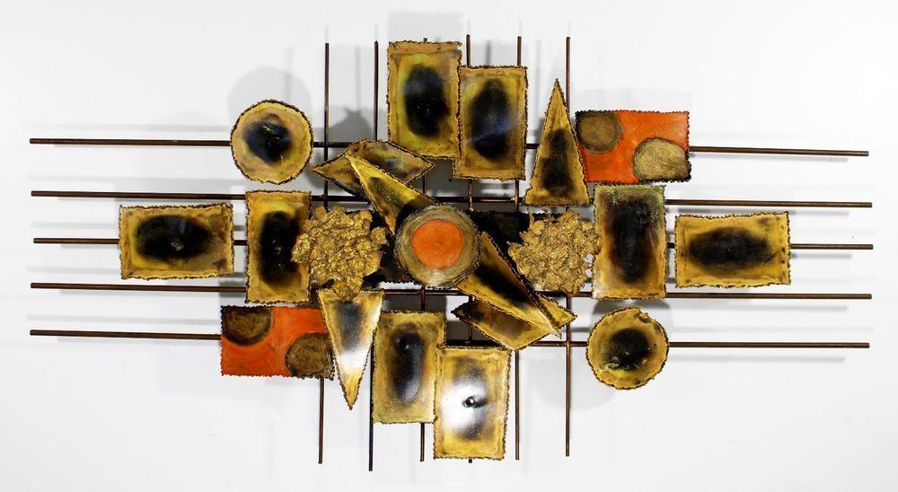 Mid Century Modern Brutalist Brass Metal Hanging Wall Art Jere Evans Era