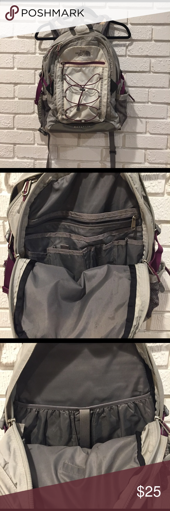North Face Boraelis Backpack - White & Gray North Face Boraelis Backpack - White & Gray with plum accents North Face Bags Backpacks